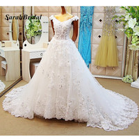 Sexy Sheer Corset Bodice Wedding Dresses Ball Gowns 2017 Hot Sale Off The shoulder Bridal Gown With Long Train vestidos de festa