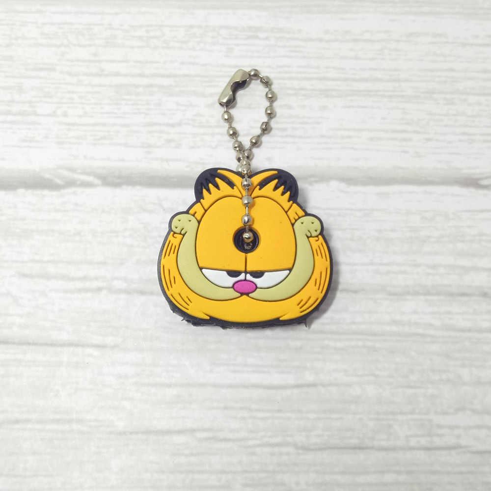 Novo Anime Mulheres Chaveiro Carro Saco Acessório Bonito do gato Garfield Dos Desenhos Animados Minnie 4 centímetros Silicone Cobertura das Teclas Chave Anel Titular