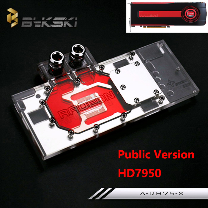 все цены на  Bykski Public Version Full Cover Graphics Card Water Cooling Block use for ATI HD7950 A-RH75-X Cooler Block with RGB Light  онлайн