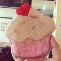 Ensso 2018 New Cake Coin Purse Lovely Women Dime Bags Sweet Cartoon Coin Bag Handmade Mini Bag Beading Beads Candy Card Holder