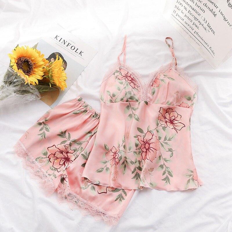 2019 Summer Women Fashion Sexy Sleepwear Flower Pajamas Women Sleep Lounge Pajama Set