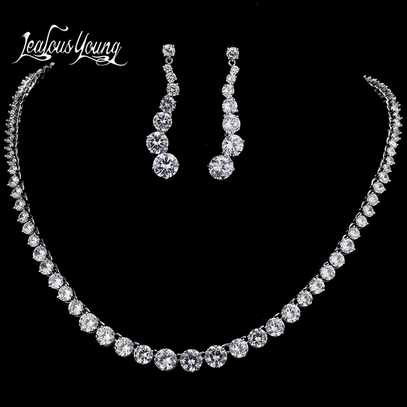 Luxury Round AAA Cubic Zircon Jewelry Sets For Brides White Gold Color Necklace Set For Women Wedding Jewellery Sets AS043Luxury Round AAA Cubic Zircon Jewelry Sets For Brides White Gold Color Necklace Set For Women Wedding Jewellery Sets AS043