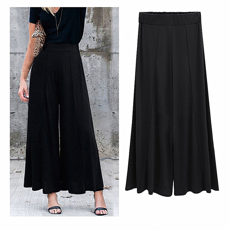 Spring and summer plus size high waist nine points casual   wide     leg     pants   female 2019 casual office ladies   wide     leg     pants   B395