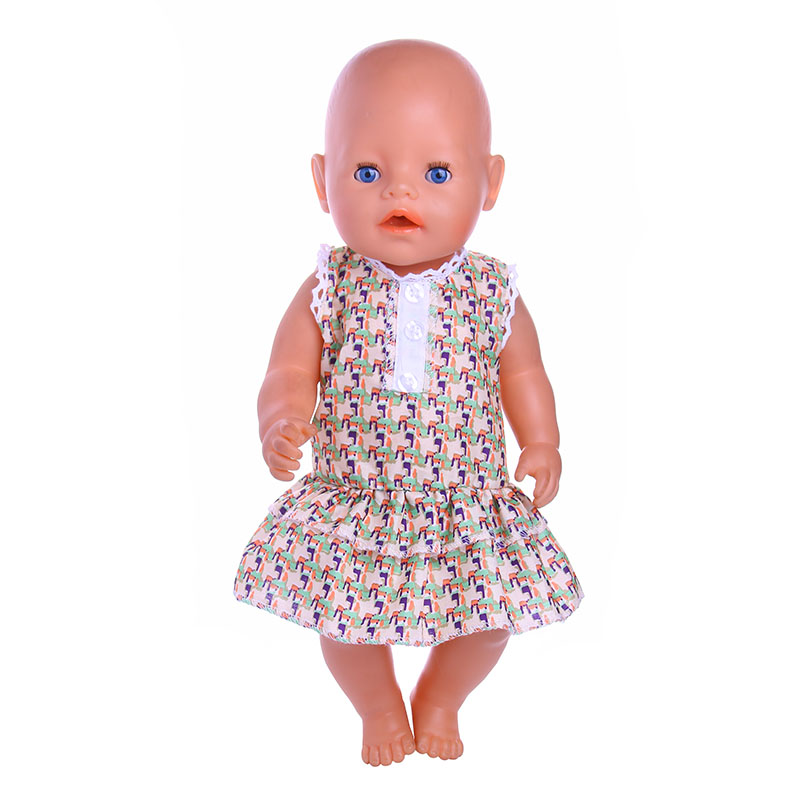 Animal pattern suit sleeveless princess dress for 43cm zapf doll baby born Doll accessories The best gift and toy for children