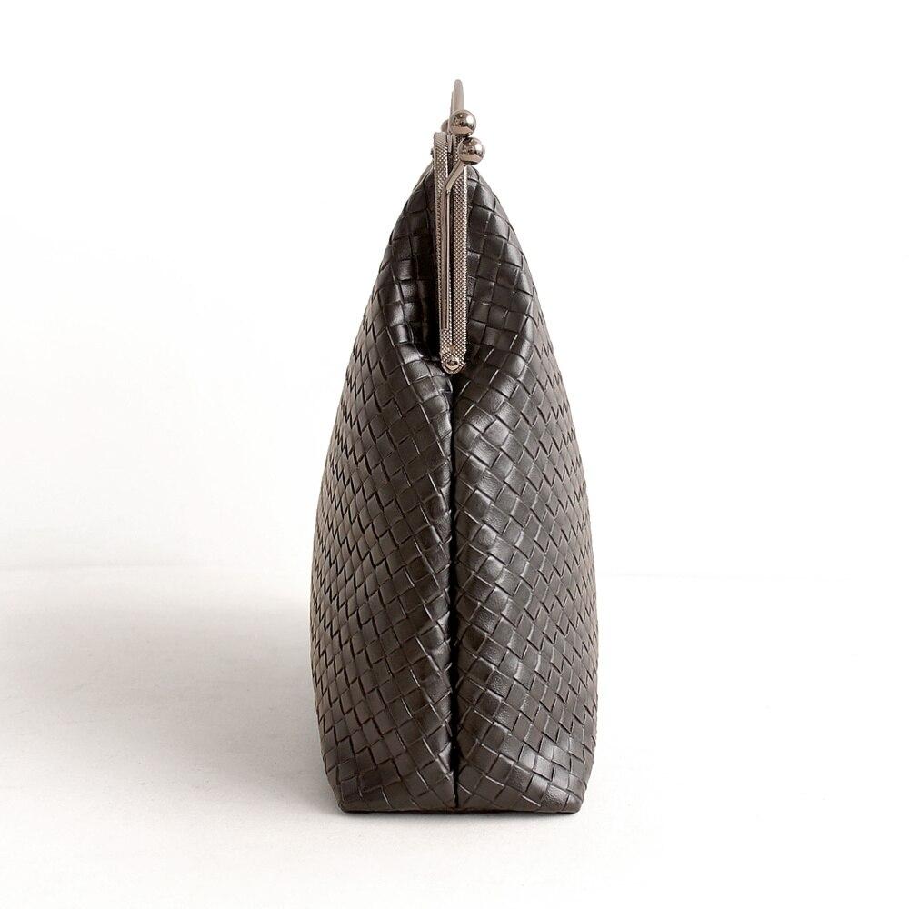 Marca Retro señoras tejido cuero Cruz puntada Bolso grande marco de Metal bolso Totes mujeres diamante Lattice bolsa-in Cubos from Maletas y bolsas    3