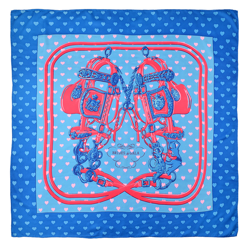 POBING 90x90cm Silk Scarf Women Love Heart Dog Print Manual Square Scarves Bee Echarpes Foulards Femme Wrap Bandana Small Hijab