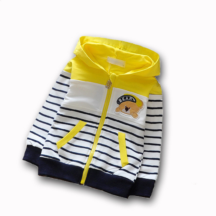 Autumn Spring Baby Boys Girls Long Sleeve Coat Children Hooded Stripe Sport Outwear Kids Cartoon Outdoor Sweater