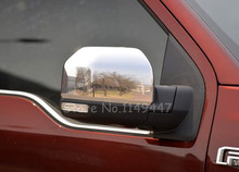 ABS Chrome Car Rearview Glass Cover Side Door Wing Mirror Cover Trim Car Styling for Ford F150 F-150 2015 2016 2PCS