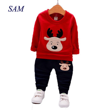 18M-5T Baby Boys Girls Clothes Christmas Costume Autumn Long Sleeve Boys Clothing Sets Fashion Elk Kids Clothes for Boys