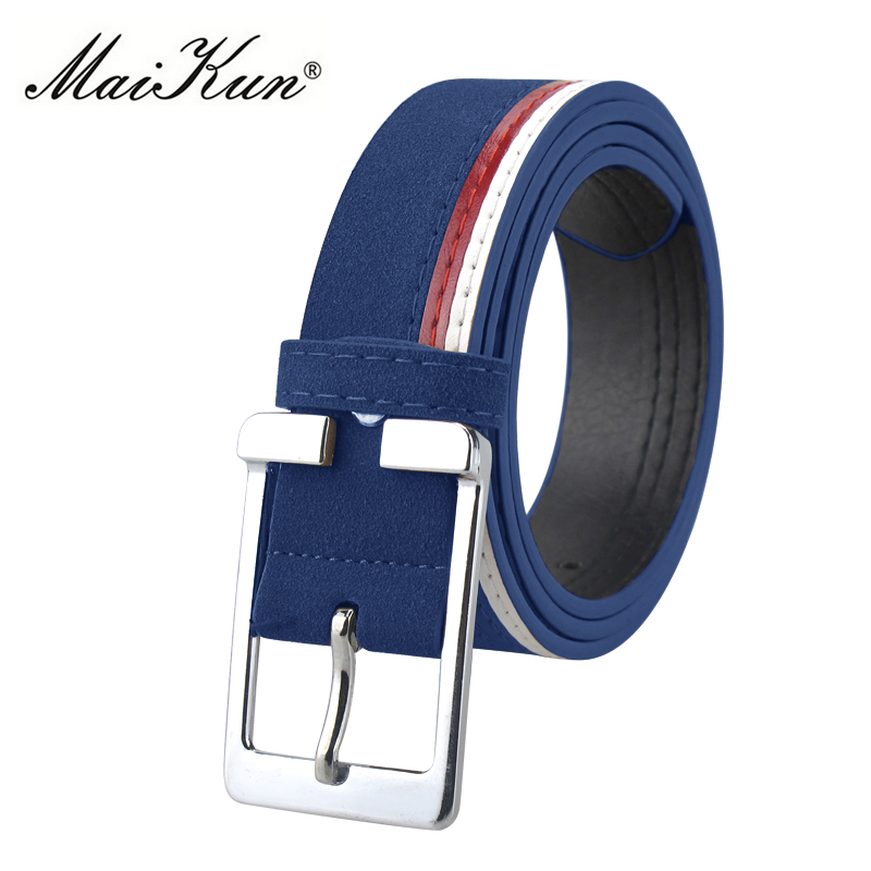 Maikun Men's Belts Leather Belts For Men Belt Metal Pin Buckle Belt For Casual Jeans High Quality Brand Male Strap 4 Colors