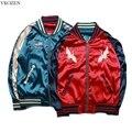 S-XXXL Женщины Мода Йокосука Сувенирной Куртка Повседневная Дамы Вышивка Куртку Плюс Размер Обе стороны Носить Куртки Mujer