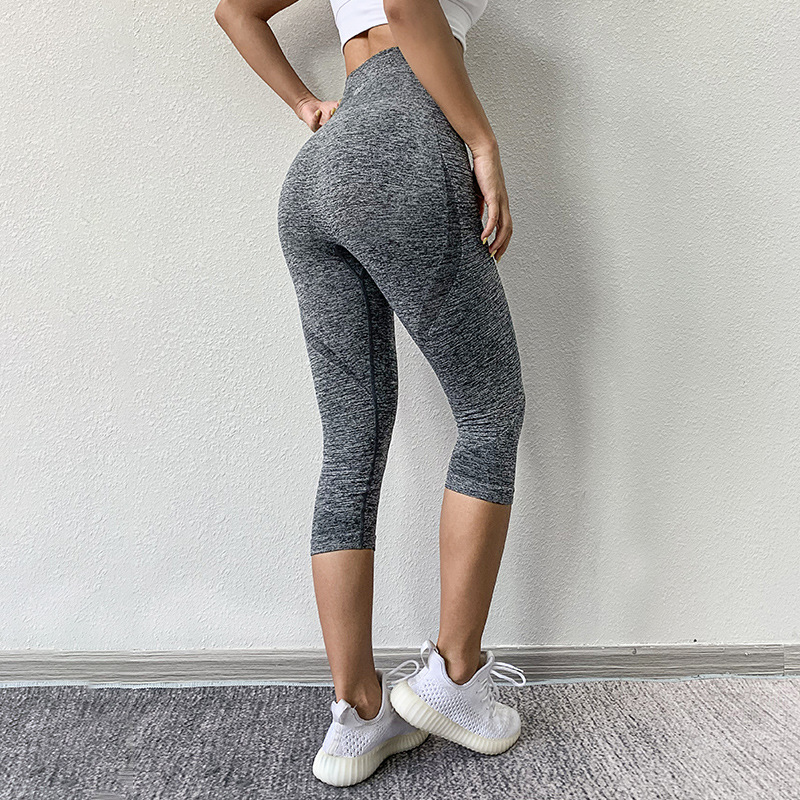 Seamless Sport Yoga Capri Pants Women Squatproof High Waist Running Gym Cropped Trousers Plain Workout Tights