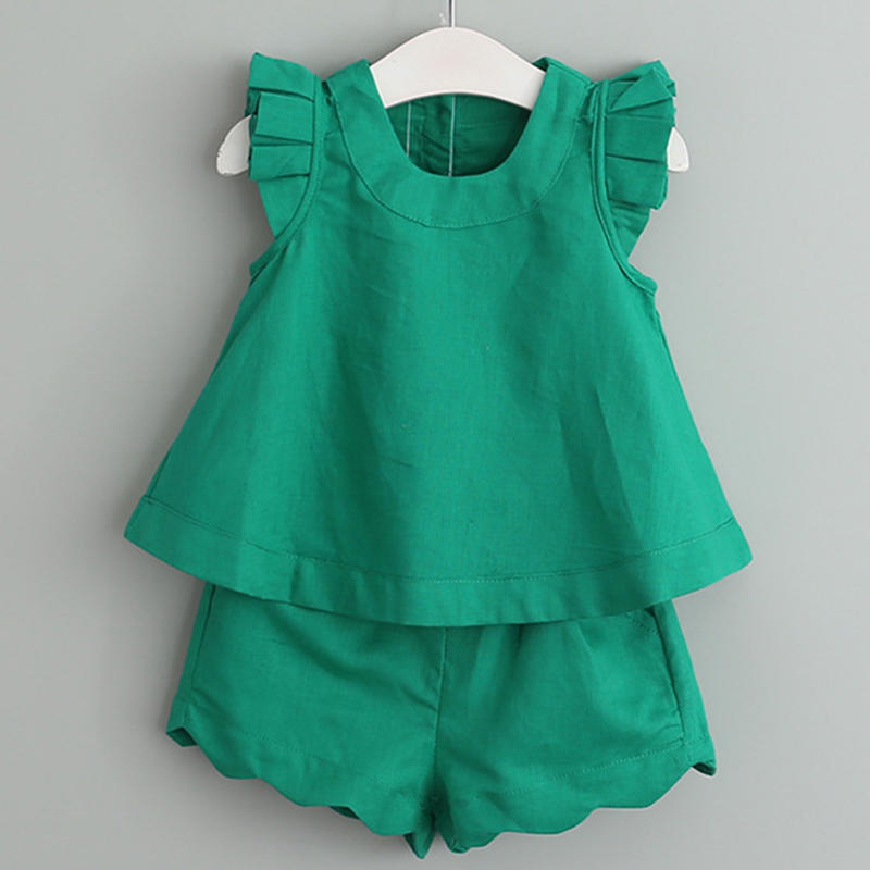 Girls Clothing Sets 2018 New Arrival Girls Clothes Spring&Summer O-Neck Sleeveless  Solid Kids Clothing Sets Children Clothing 2016 spring girls clothes girls clothing sets new arrival female child flower print o neck pullover short skirt set baby twinset