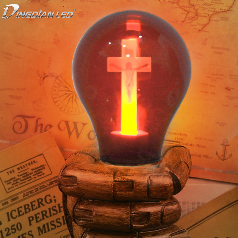 E27 90-265V LED Bulb Red Flame Peaceful Mind Light Cross Jesus Church  Cathedral Bar Pray Hotel Square Decorative Lamp