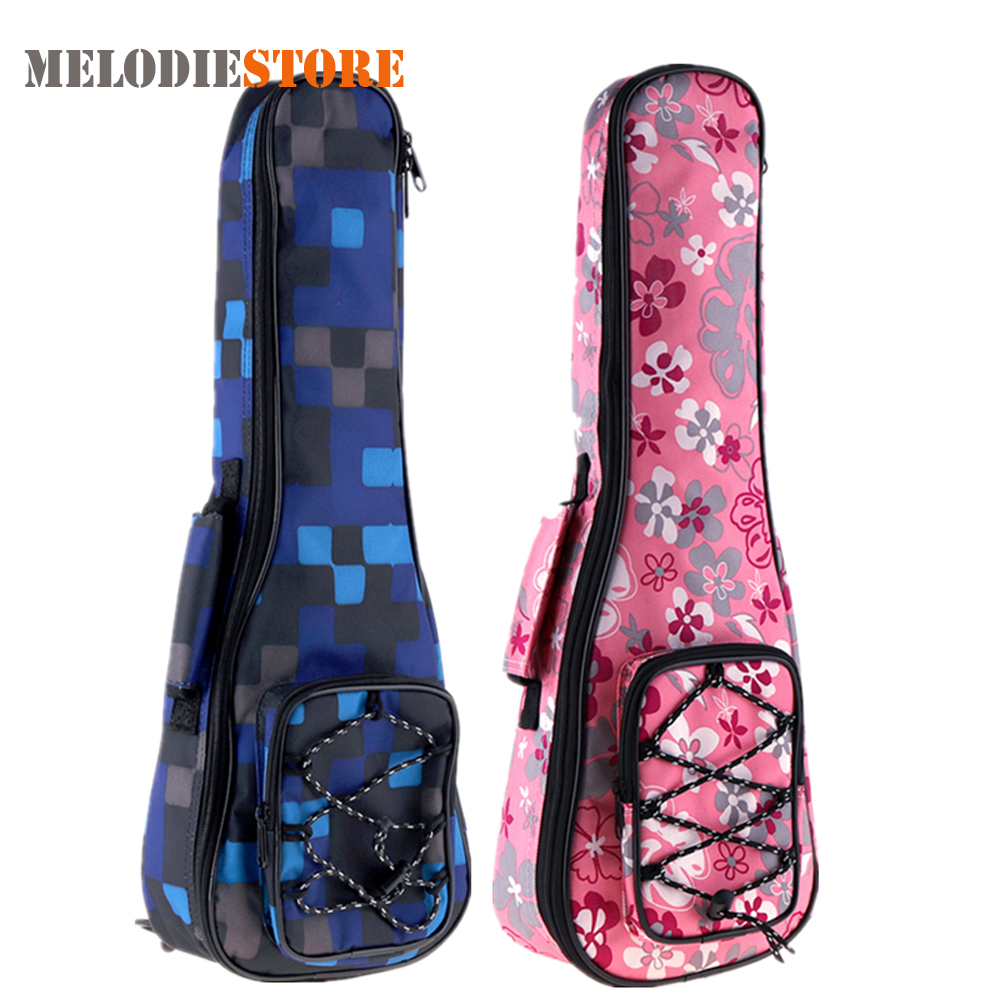21 Inch Colorful Ukulele Bag Cover 10mm Cotton Soft Carry Case Gig Bag Ukelele Mini Guitar Backpack with Double Shoulder Strap waterproof thicken 11 5 mm electric guitar bass bag case backpack guitarra accessories parts carry gig colorful cloth