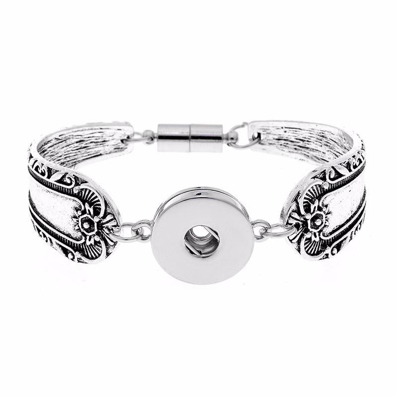 12styles! Vintage Tibetan Bohemian Metal 18mm Snap Buttons Bracelet Bangles Diy Snap Jewelry For Women Men