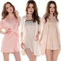 Бесплатная доставка весна лето осень зима сексуальных женщин спагетти ночную рубашку пижамы женский шелковый халат Twinset гостиная комплект