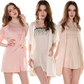 Free shipping Spring Summer Autumn Winter Sexy Women's Spaghetti Strap Nightgown Sleepwear Female Silk Robe Twinset Lounge Set