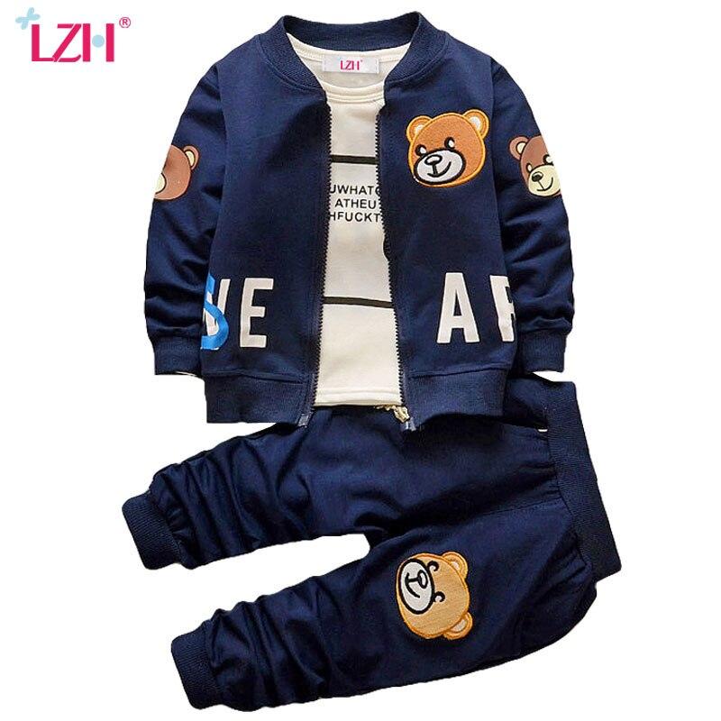 LZH Niño Niños Ropa 2017 Primavera Otoño de Los Bebés Ropa Fijada Coat + Shirt +