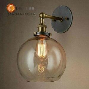Image 3 - מודרני בציר קצר בציר מנורת קיר בסגנון אמריקאי ליד מיטת זכוכית רטרו ברזל קיר מנורת אמבר המיטה E27 קיר אורות (BK 50)