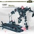 Cogo deformación mech educativos bloques de construcción de juguetes para los niños regalos mini submarino robot compatible con legoe