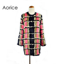 CR033 New real rabbit fur coat/ winter jacket long style  fashion women plaid genuine fur outwear