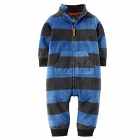 2017 Baby Clothes Bebes Jumpsuit Collar Fleece Newborn Pajamas Infants Baby Boys Clothes Toddler Boys Clothes