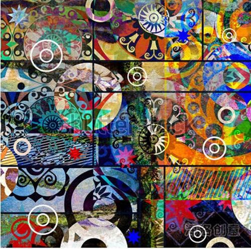 Custom 3d large mural abstract digital painting colorful - Graffitis en papel ...