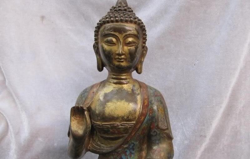 19 INCH Tibet Buddhism classic Bronze Gilt cloisonne Sakyamuni Buddha Statue19 INCH Tibet Buddhism classic Bronze Gilt cloisonne Sakyamuni Buddha Statue