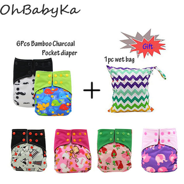 купить OhBabyKa Reusable Diapers Baby Cloth Nappy Bamboo Charcoal Pocket Diaper Adjustable Cloth Diaper Cover Modern Cloth Nappies 6PCS