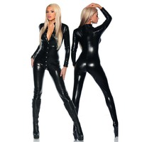 2017 New Full Zentai Bodysuit Buttons Turtleneck Long Sleeve Metallic Unitard Gymnastics Wet Look Black Adult Catsuit W2083420