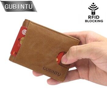 add328c8f GUBINRU RFID bloqueo billeteras para hombres Slim cuero genuino Delgado  minimalista bolsillo delantero carteras para hombres dinero Clip monedero