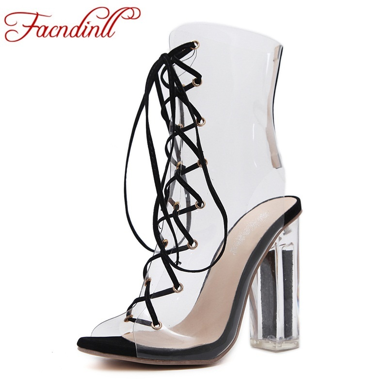 summer sandals ankle boots for women fashion cut-outs cross-tied ladies peep toe transparent high heels dress party shoes woman women summer sandals fashion sexy lace cut out open the toe woman ankle boots thin high heels peep toes shoes sxq0602