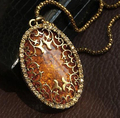 Vintage European Style Women Royal Hollow Pattern Long Pendant  Necklace TH-N104