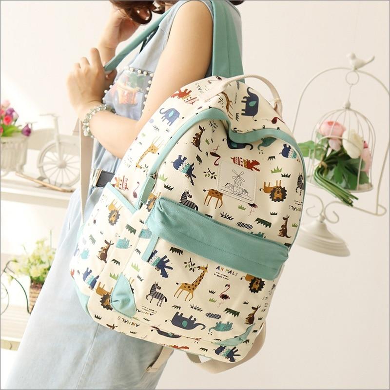 2016 Campus Girl Women Cartoon Backpack Schoolbag Canvas Backpacks Travel Bags Rucksack