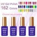 4pcs/lot UV Gel Nail Polish Long lasting soak off Varnish cheap Manicure New Color UV Gel UV&LED Shining Colorful 162 Colors