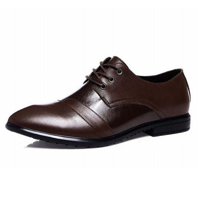 Men Dress Shoes Genuine Leather 2017 New Spring Fashion Men's Oxford Shoes Leather Business Casual Shoes Classic Gentleman Shoes