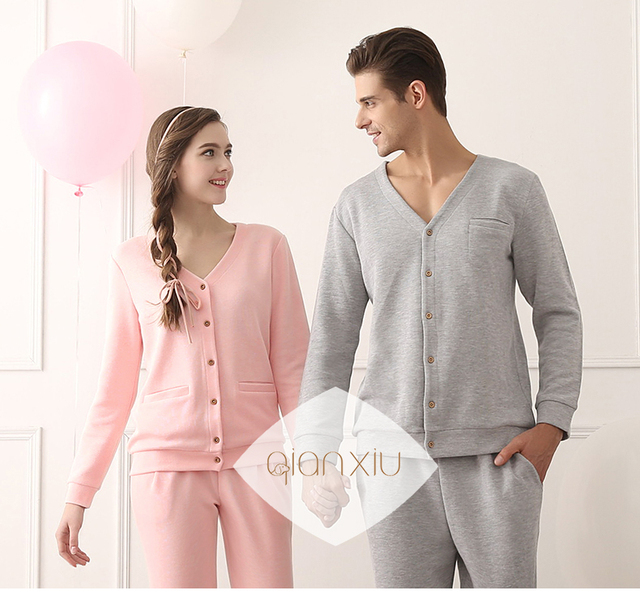 2016 Qianxiu New Soft Knitted Cotton Long Sleeve Solid Pajamas Set for Couple Comfertable Home Sleepwear Lovers Pijama