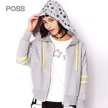 PASS 2017 New Arrival Autumn font b Women b font Short Fashion Cardigan Zipper Stripe Loose