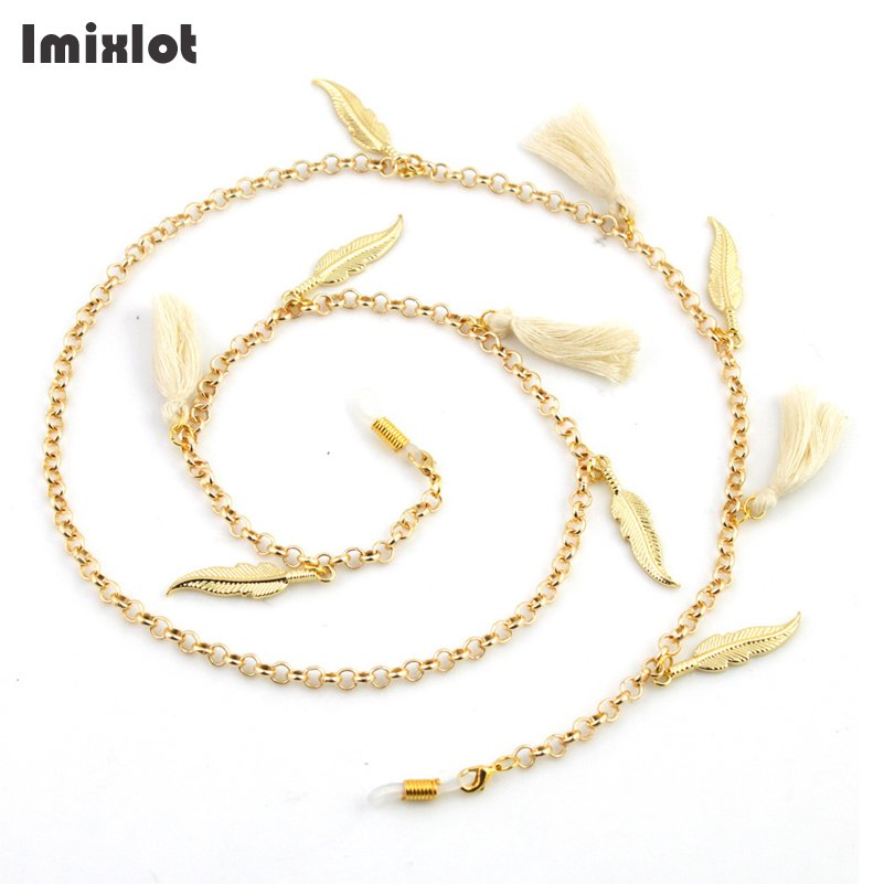Imixlot Feather Tassel Glasses Chain Reading Glasses Eyeglasses Round Metal Cords Sunglasses Spectacles Holders Neck Strap Rope