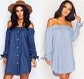 Slash Neck Off Shoulder Blouse Bow Long Sleeve Denim Shirt Elegant Women Summer Tops Blusas Blue Mini Dress Plus Size Clothing