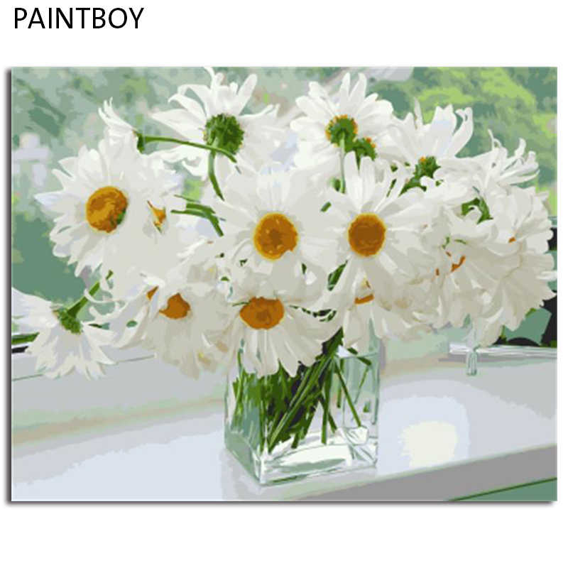 PAINTBOY Framed Pictures Flowers DIY Oil Painting Painting By Numbers Hand Painted On Canvas Home Decor
