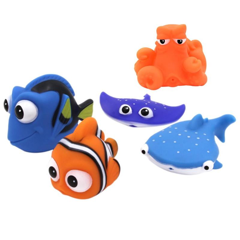 5 styles Kawaii Funny Baby Bath Toys Squeeze Sounding Debbling Toys Baby Bath Toys Kids Float Water Tub Enamel Toy