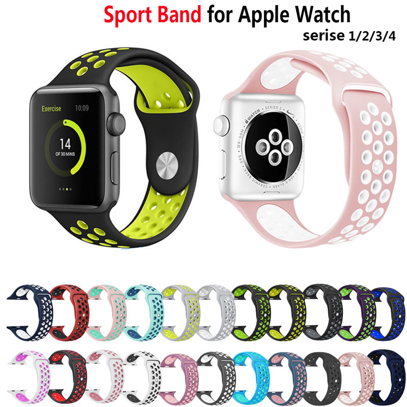 Soft Silicone Sport Band For Apple Watch 38mm Series 3 4 42mm Wrist Bracelet Strap For Apple Watch Series 1 2 Strap 44mm 40mm