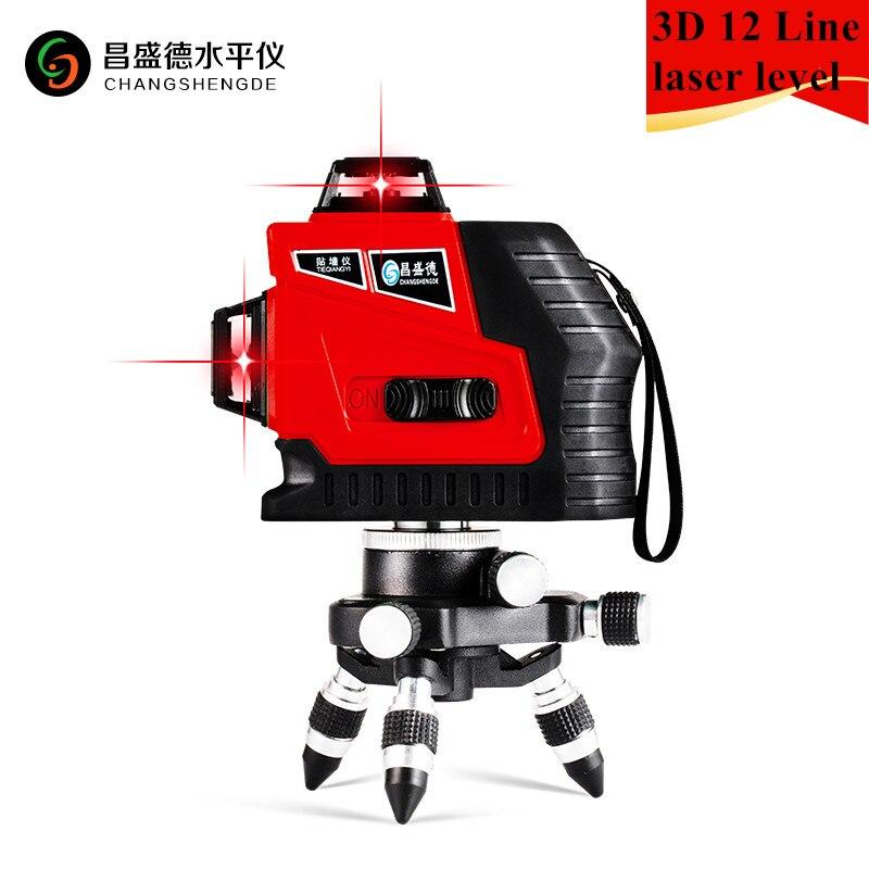 2018 Nuovo 12 Linee 3D Laser Livello Self-Leveling 360 Orizzontale E Verticale Croce Super Potente Raggio Laser Rosso linea