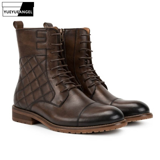 040f77eebb0 US $167.92 29% OFF|Top Brand Classic Plaid Mens Ankle Boots Genuine Leather  Motorcycle Knight Boots Lace Up Zipper Casual Footwear Retro Man Shoes on  ...