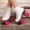 Japy skate patines f1 double con base de metal de cuero genuino mujeres 4 Ruedas Patines de Dos Línea Roller Skate zapatillas de Skate Para Adultos
