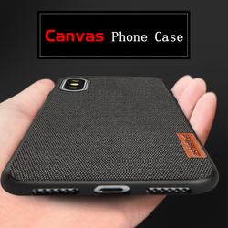 Canvas phone case for iphone XSMAX  XS XR 8 8plus All inclusive Anti-fall soft shell protective case Suitable for men and women