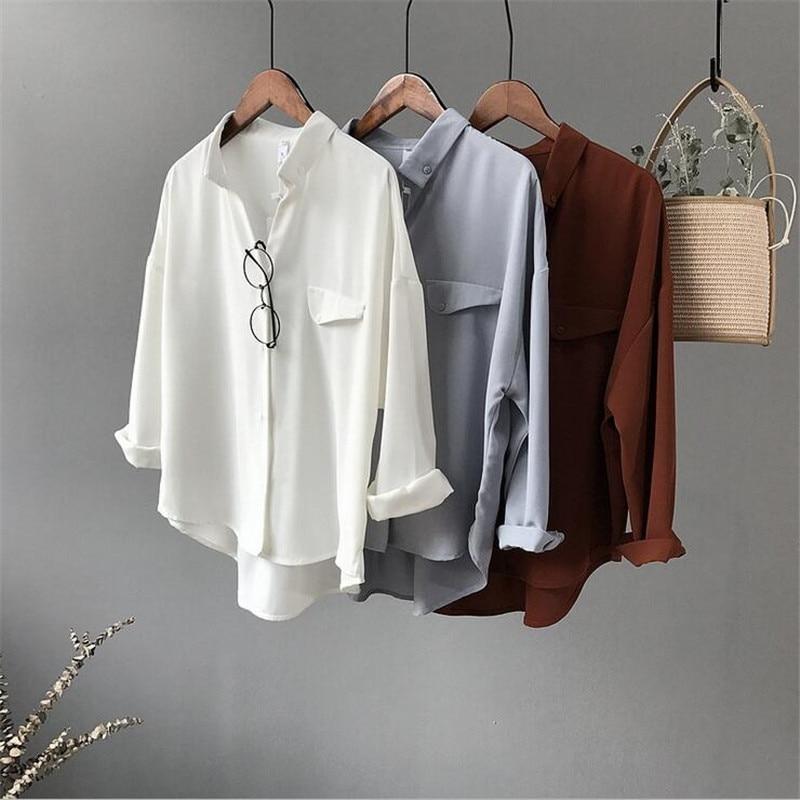 High quality Casual Chiffon white Women blouse shir