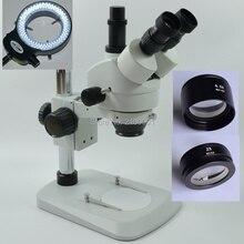Бесплатная доставка! 3.5X-90X Столп Сектор База Тринокулярный Стерео Увеличить Микроскоп + 144 led свет